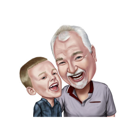 Grandfather with Grandson Family Caricature from Photos - example