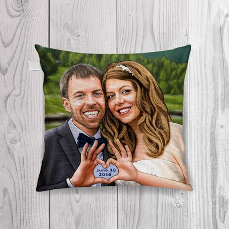 Hand-Drawn Bride and Groom Portrait Printed on Pillow - example