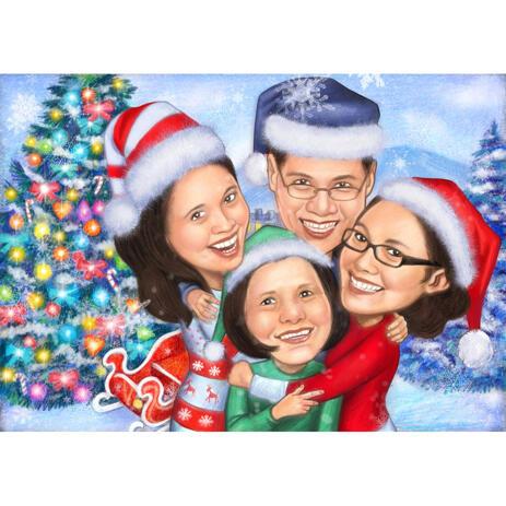 Семейная рождественская карикатура в стиле цветных карандашей - example