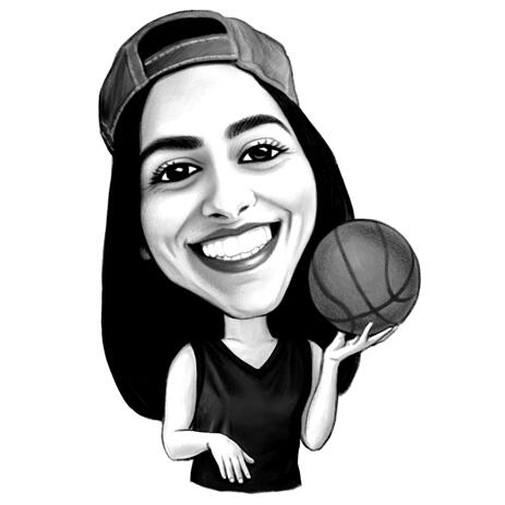Basketball Caricature from Photos: Black and White Style - example