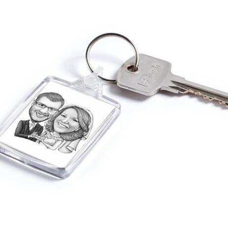 Pencils Caricature of Bride and Groom on Keyrings Print - example