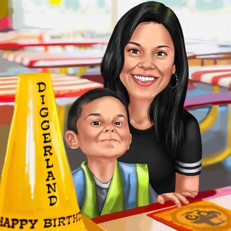 Dessin de caricature mère et fils à partir de photos avec fond personnalisé - example