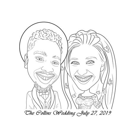 Bruid en bruidegom karikatuur van foto's in zwart-wit omtrekstijl - example