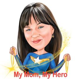 Cartoon Drawing from Photo of Woman in a Random Superhero Costume featured Mother's Day Texts