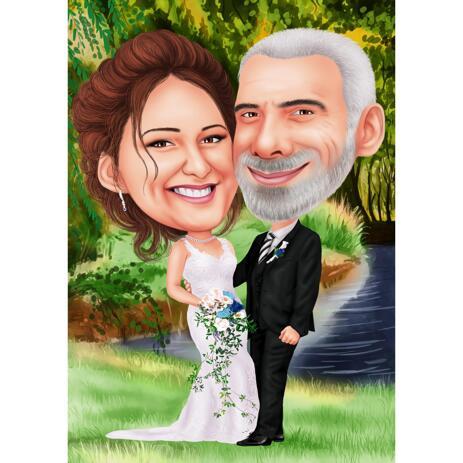Цветная карикатура свадебной пары в цифровом стиле. - example
