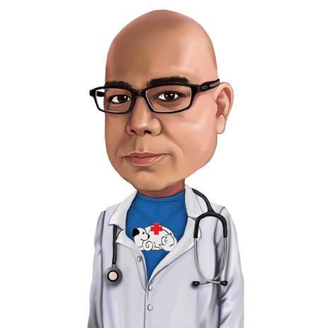 Tierarzt Doktor Cartoon von Fotos mit Logo auf der Brust - example