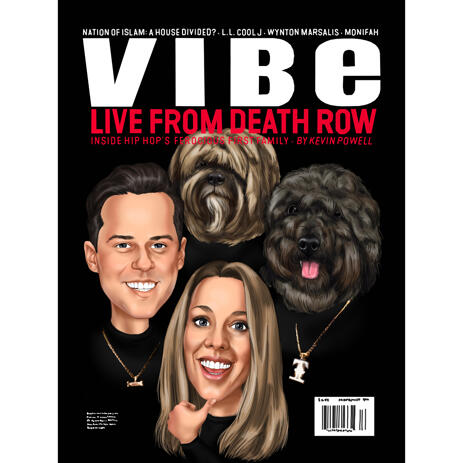 Custom Magazine Cover of Couple with Pets - example