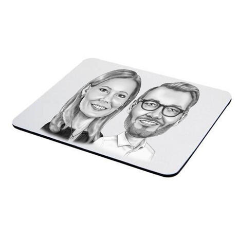 Business Partners Caricature on Mouse Pad - example