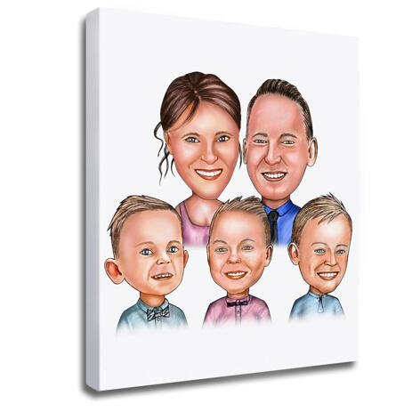 Family Portrait Caricature Print on Canvas - example