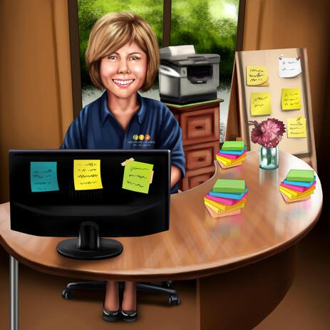 Woman Manager Sitting at Desk Full of Note Stickers Caricature for Custom Employee Gift - example