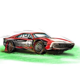 Colored Car Sketch from Photos in Pencils