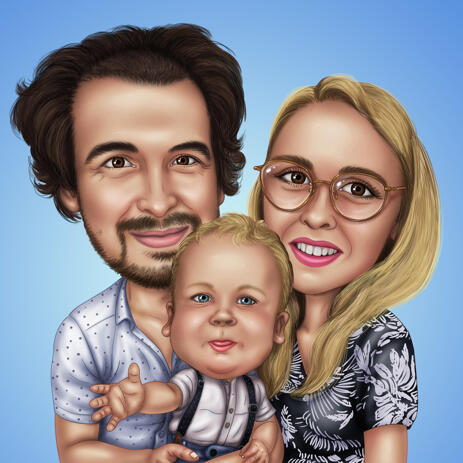Lovely Family with Baby Caricature with Single Color Background - example