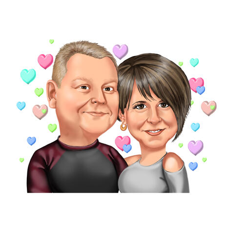 Couple Cartoon Portrait from Photo with Multicolored Pastel Hearts Background - example