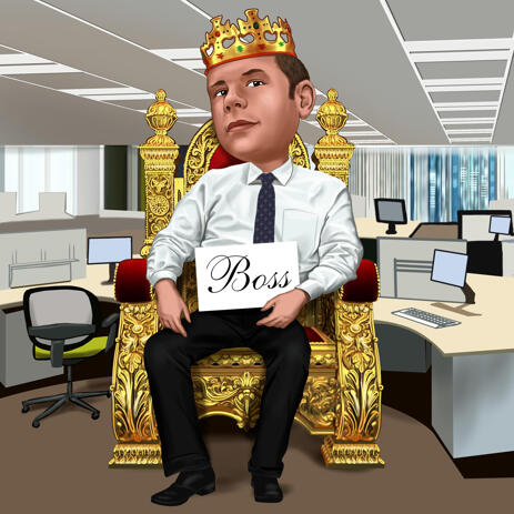 Boss Caricature Portrait as King for Custom Gift - example