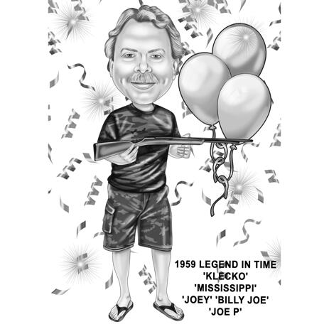 Full Body Black and White Style Hunter Caricature for Boss Birthday Gift - example