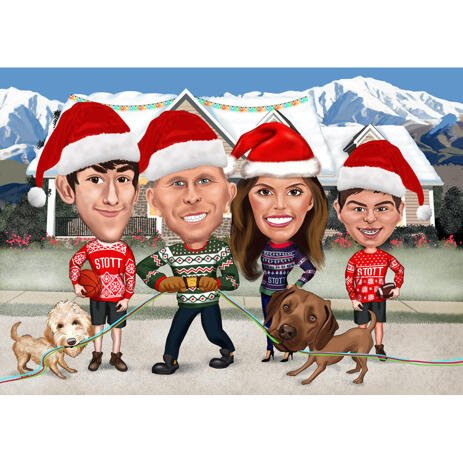Christmas Family Caricature with Pets in Santa's Hats - example