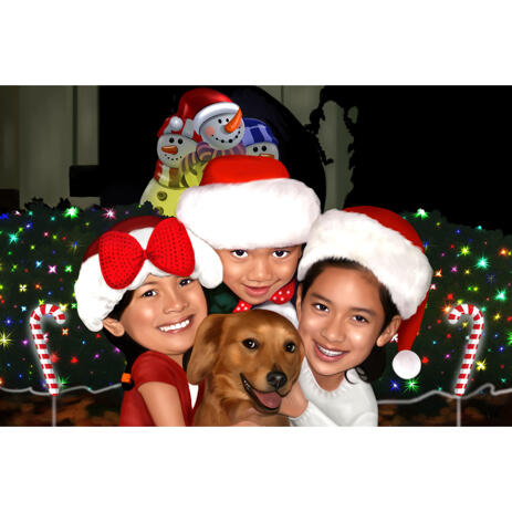 Christmas Kids Group with Pet Caricature in Color Style with Custom Background - example