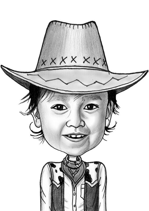 Children And Teen Caricatures From Photo Black And White