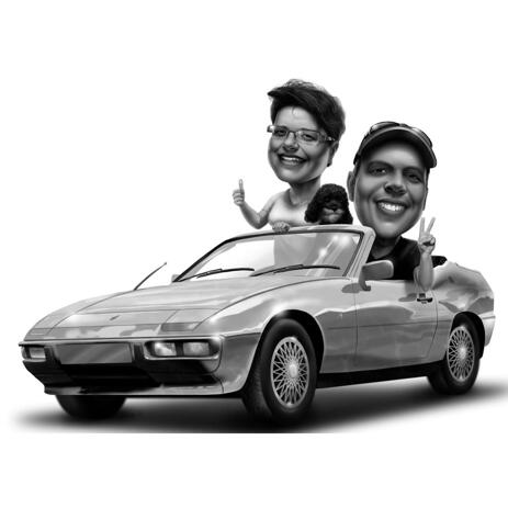 Couple Caricature from Photos in a Car - example