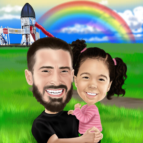 Father and Daughter Cartoon Caricature with Custom Background - example