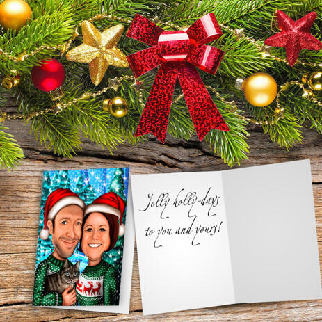 Christmas Couple Caricature Set of 10 Cards in Color Style from Photos - example