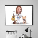 Master and Dog Caricature Poster
