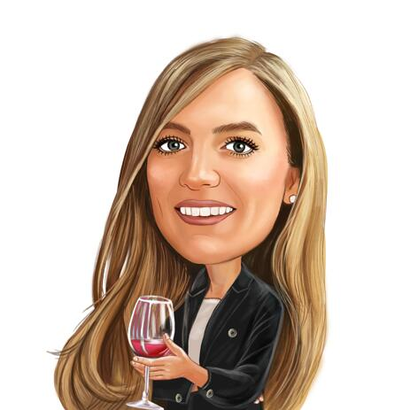 Gifts for Wine Lovers - A Custom Caricature in Colored Digital Style - example