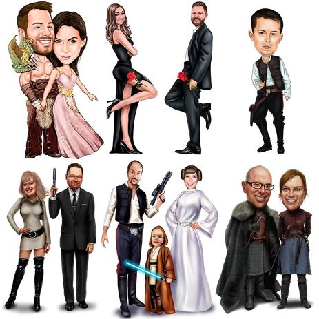 Custom Movie Inspired Caricature as any Character for Movies Fans - example