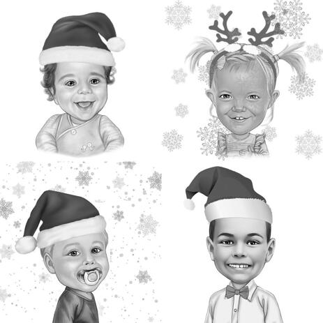 Christmas Kids Caricature in Black and White Style from Photos - example