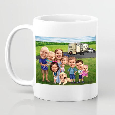 Caricature on Mug - Family with Pet Cartoon Portrait in Colored Style with Custom Background - example
