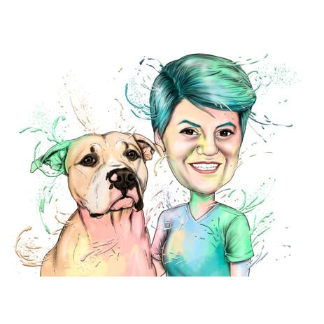 Owner with Dog Pastel Watercolor Portrait from Photos - example