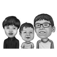 Funny Exaggerated Children Group Caricature in Black and White Style from Photos