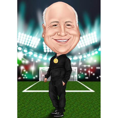 Coach Caricature from Photos: Custom Football Coach Gift - example
