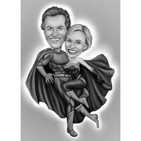 Full Body Superhero Couple Caricature in Black and White Style with Grey Background