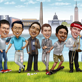 Custom Group Caricature from Photos