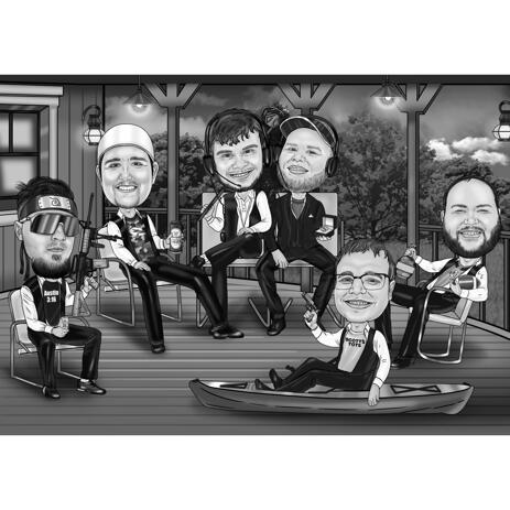 Groomsmen Caricature in Black and White Style for Bachelor Party Gift - example