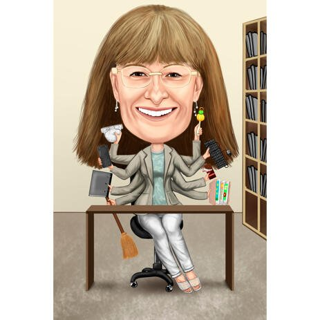 Custom Home Business Caricature of Person in Colored Style from Photos - example