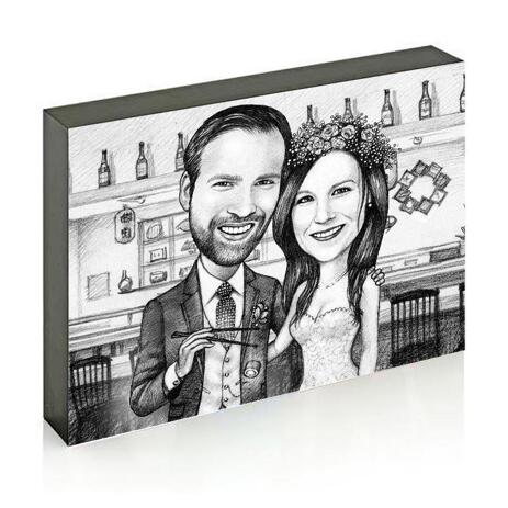 Bride and Groom Caricature on Photo Block - example