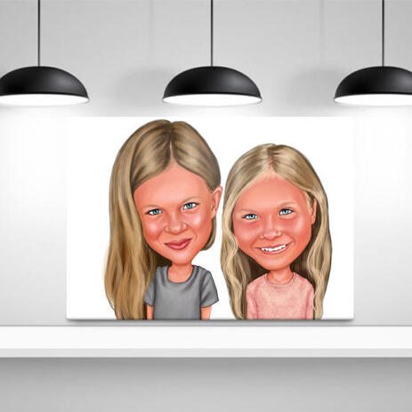 BFF Kid Caricature Printed on Canvas - example