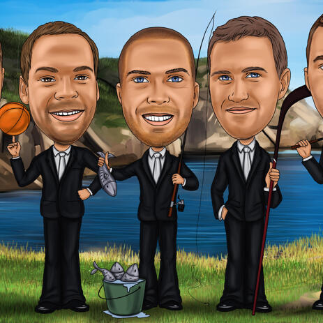 Fishing Groomsmen Caricature from Photos - example