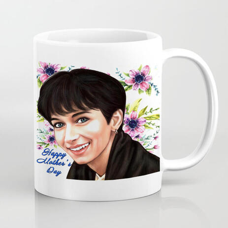 Mother's Day Cartoon Drawing in Color Style Printed on Mug - example
