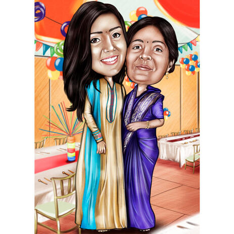 Two Persons Colored Cartoon Portrait in Full Body Indian Style from Photo - example