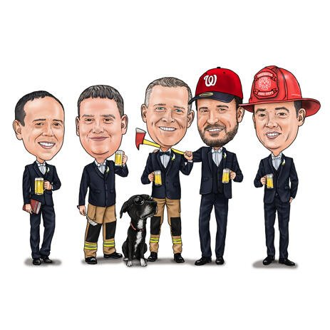 Firefighters Caricature from Photos: Farewell Gift - example