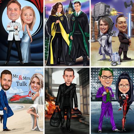 Kohandatud karikatuur fännidele mis tahes filmi-, saate- või koomiksitegelasena - example