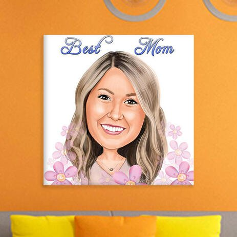 Canvas Print: Custom Cartoon Drawing from Photo of Woman in Mother's Day - example