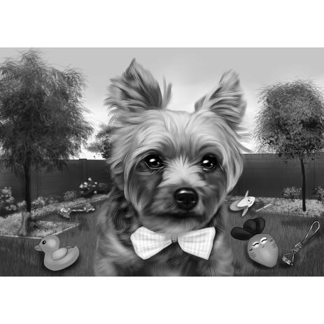 Custom Pet Caricature in Black and White Style with Background - example