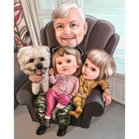 Koko kehon isoisä lasten ja lemmikkieläinten värillisten sarjakuva-kuvien kanssa valokuvista