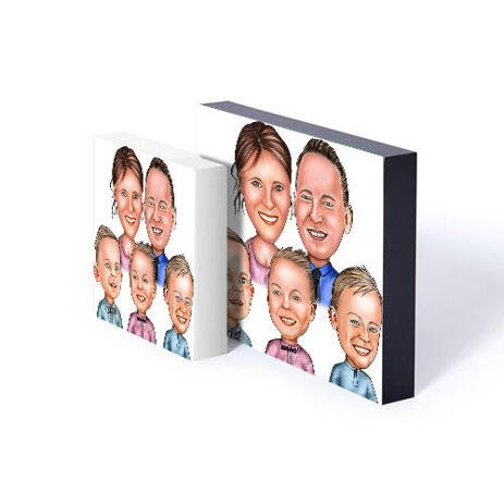 Family Portrait Caricature Print on Photoblock - example