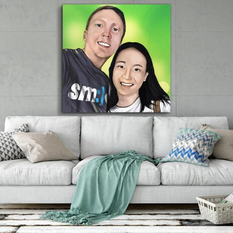 Couple Caricature in Colored Style Printed on Canvas - example