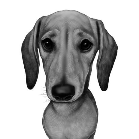 Mustavalkoinen tyyli mäyräkoira sarjakuva muotokuva maalaus valokuvista - example